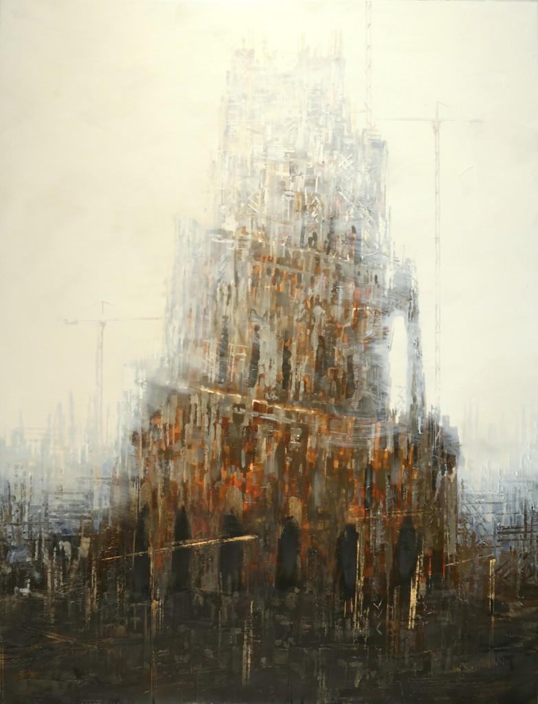 Babel sur fond blanc 3, 130x80 cm.
