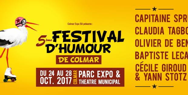 Le Festival d'Humour de Colmar souffle sa 5ème bougie en 2017 ! Pour cette nouvelle édition, qui se tiendra du 24 au 28 octobre, au Parc Expo et au Théâtre Municipal de Colmar, ce sont 5 spectacles qui seront présentés, avec comme seul point commun, l'excellence !