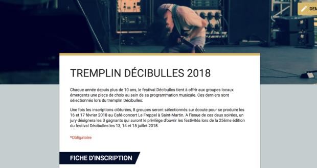 Ouverture des inscriptions au Tremplin Décibulles 2018
