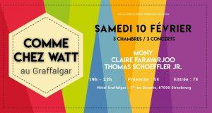 Dans le cadre de Strasbourg Mon Amour, Comme Chez Watt s'installe le temps d'une soirée à l'hôtel Graffalgar le 10 février à 19h. 3 concerts intimistes seront proposés dans 3 des 38 chambres uniques du Graffalgar.