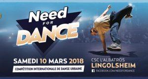 Le « Need For Dance », s'est imposé au fil des années comme le rendez-vous Hip Hop incontournable du Grand-Est. De retour pour une 5e édition, le samedi 10 mars au Centre Socio-Culturel l'Albatros de Lingolsheim, il s'annonce d'ores et déjà riche en rebondissements grâce aux artistes invités.