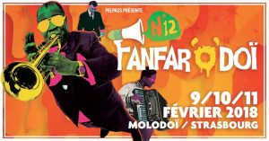 Après une année 2017 plus que réussie pour Pelpass, l'association revient dès le début de l'année 2018 avec son festival de fanfares, Fanfar'o'Doï. Ainsi, la 12e édition se tiendra du 9 au 11 février, comme son nom l'indique, au Molodoï.