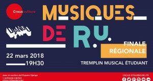 Porté par le réseau des CROUS, Musiques de RU est un tremplin étudiant pour les musiciens amateurs. Pour la première fois, le CROUS de Strasbourg offre la possibilité à 4 groupes régionaux étudiants de se produire sur scène à l'occasion d'une grande finale régionale, le 22 mars à l'Espace Django.