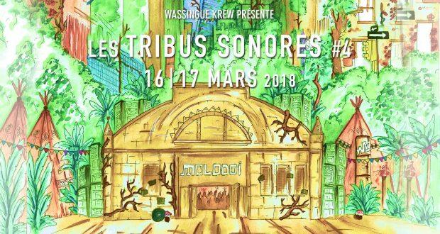 Wassingue Krew présente la 4e édition de son festival, Les Tribus Sonores du 16 et 17 mars au Molodoï. L'équipe a concocté pour l'occasion un programme riche et varié autour de la musique électronique et tous les arts qui s'en rapprochent, comme le graffiti, la peinture, la photo, ou même le jonglage.