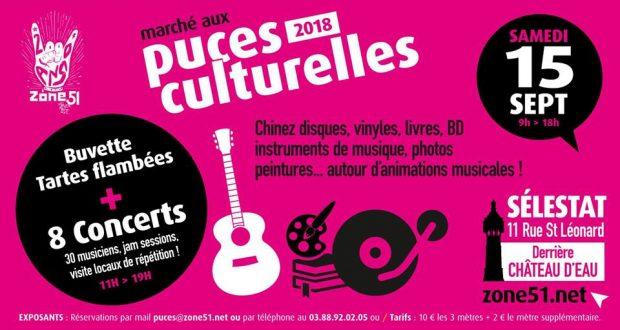 Les puces culturelles de Zone51 sont de retour à Sélestat pour une nouvelle édition qui se tiendra le 15 septembre dans la cour de Zone51 et du Caméléon (derrière le Château d'eau et l'ancienne usine Dromson).
