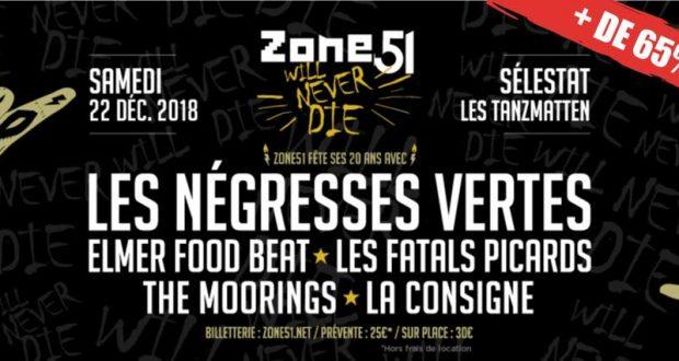Le samedi 22 décembre, Zone51 vous invite à célébrer les 20 ans de l'association à l'occasion d'une soirée de concerts punk-rock, en compagnie des Négresses Vertes, Elmer Food Beat, Les Fatals Picards,The Moorings et La Consigne.