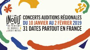 Du 10 janvier au 2 février, 27 salles françaises accueilleront les auditions régionales des INOUÏS du Printemps de Bourges Crédit Mutuel. Parmi les 150 jeunes artistes en compétition, 32 seront choisis pour représenter leur territoire lors de la prochaine édition du Printemps de Bourges.