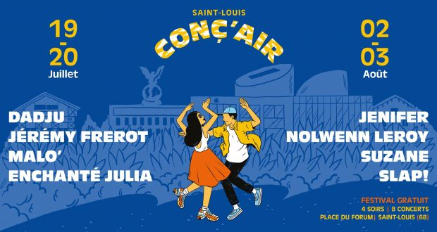 Créé en 2005 par la ville de Saint-Louis, Conc'Air est un festival gratuit investi dans les musiques actuelles. Pour sa 15e édition, il se déroulera les 19 et 20 juillet ainsi que les 2 et 3 août sur la place du Forum à Saint-Louis.